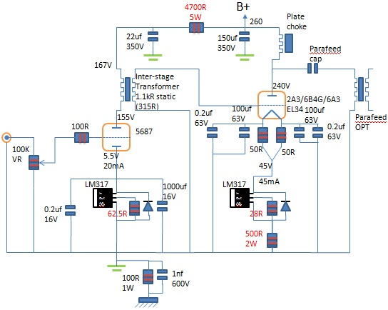 2A3 parafeed amplifier schematic